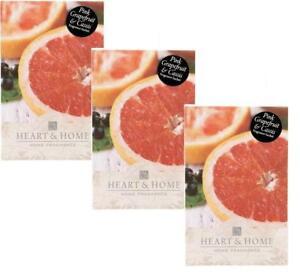 3x Coeur Et Maison De Pamplemousse Rose Grand Fragrance Scented Sachet Avec Cintre-afficher Le Titre D'origine