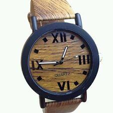 Luxury Unisex Retro Leather Analog Round Casual Wooden Movement Dress Vintage