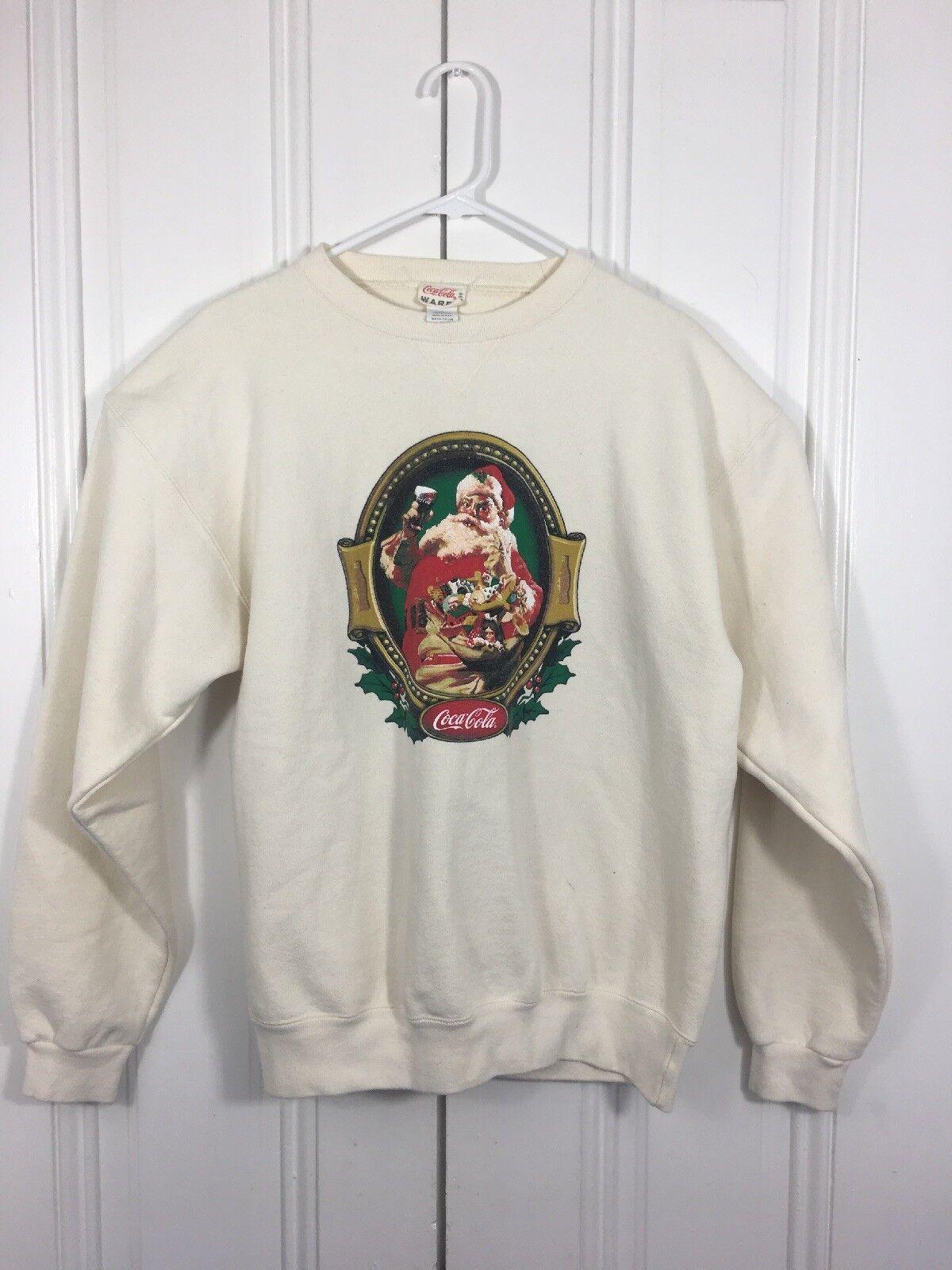 Coca Cola Ware Vintage 1999 Women's Large Christmas Sweater Classic Santa
