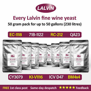 50g pack Lalvin EC-1118 K1-V1116 71B D47 QA23 RC212 BM4x4 Wine Yeast- YOU CHOOSE