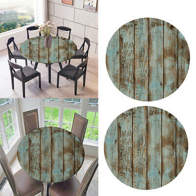 2x Elastic Round Tablecover Cover Waterproof Durable Vinyl 1.2m Wood Pattern
