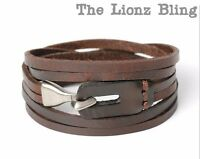 Urban Vintage Style Genuine Brown Leather Bracelet With Antiqued Hook Clasp