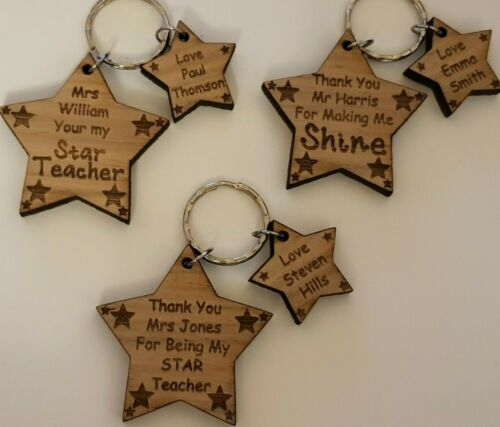 Personalised Oak Gifts Teacher Teaching Assistant Nursery School Keyring Present