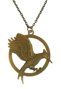New Bronze Hunger Games Mockingjay Pendant Charm Necklace Brown Cord