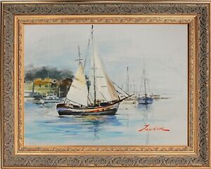 Framed Oil Painting, Suturing Seascape, Signed by J Norton, Morning at the Pier