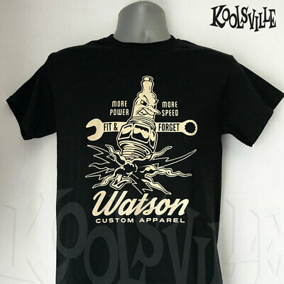 Psychobilly Punk Hot Rod Watson Custom /'Smokin/' Crow/' T-shirt Rockabilly