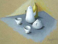 Pastel d' Elisabeth CLERGET signé Nature morte petit déjeuner Bretagne .