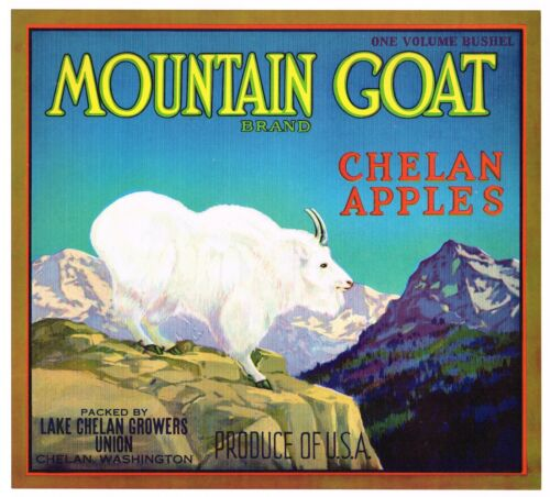 ORIGINAL APPLE CRATE BOX LABEL MOUNTAIN GOAT CHELAN WASHINGTON 1930S VINTAGE