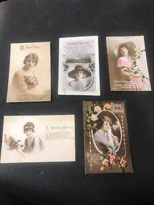 Postcard-Greetings-Birthdays-Pretty-Victorian-Dressed-Ladies-Lot-Of-5-G01