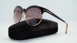 bcadaeafa592 Tom Ford Angela TF 438 01F Black   Rose Gold Sunglasses Brown ...