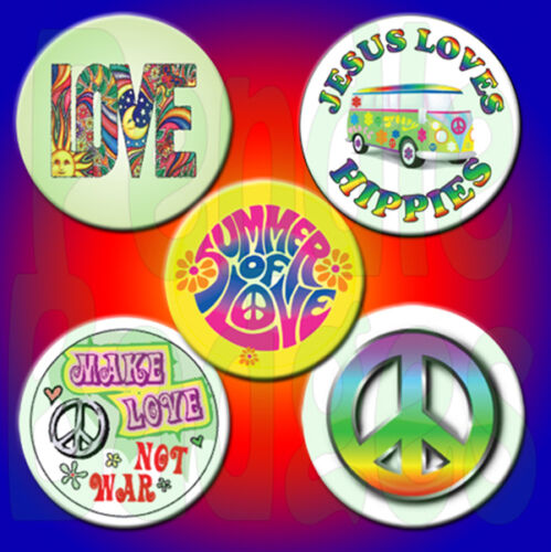 "45mm x 5 Hippy Fancy Dress Badge Set  1¾/"" Hippie"