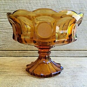 Fostoria Amber Coin Dot Glass Footed Bowl Compote Comport Vintage Mid-Century