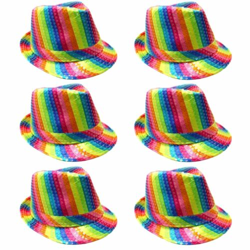 6 pack Gay Pride Rainbow Striped Festival Colours LGBT Party Sequin Trilby Hat