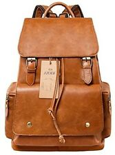 S-ZONE Vintage Genuine Leather Backpack Rucksack Travel School Bags For Women