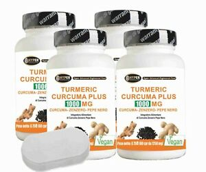 Turmeric Curcuma zenzero pepe nero 4 box + portapillole  curcumina piperina