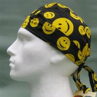 Fitted Bandana Happy face smiley smile du doo do rag sun hat yellow orange new