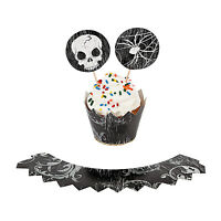 50 Halloween Cupcake Picks & 50 Skirts Skulls & Spider Design Fun Black 6259