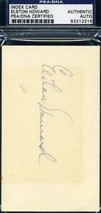 Elston Howard Signed Psa/dna 3x5 Index Card Autograph Authentic