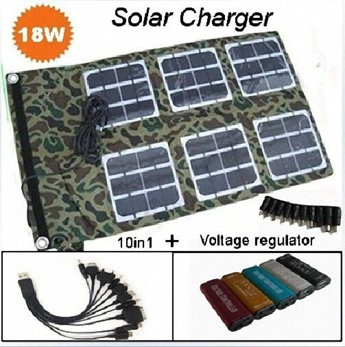 Foldable Solar Charger 18W/18V+Voltage regulator+10in1 usb cable C002