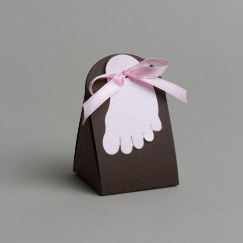 Lot de 10 boites à dragées pochette iris petit pied rose baptême 1321