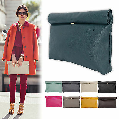 New Korea Fashion Lady Women's Colorful Roll and Roll Clutch Handbag Evening Bag
