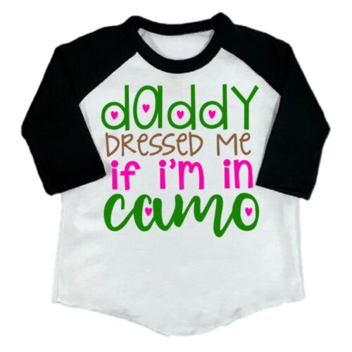 Toddler Girl Clothes Funny T-Shirt Top  Daddy Camo Kids Clothing Baseball Tee