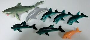 PLASTIC-SHARK-amp-DOLPHINS-RANDOM-TOY-LOT-OF-8-VARIOUS-MAKERS
