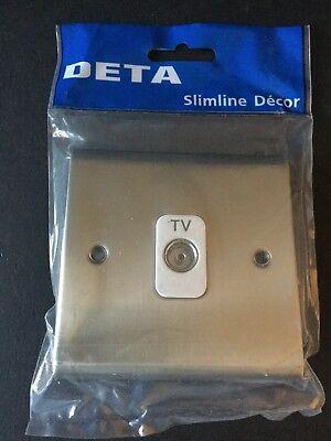 DETA SD1264SCW Chrome Satiné 1 Gang Co-axial TV Socket