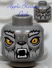 NEW Lego Dark GRAY MINIFIG HEAD Chima Wakz Wolf w/Yellow Eyes Monster Fang Teeth