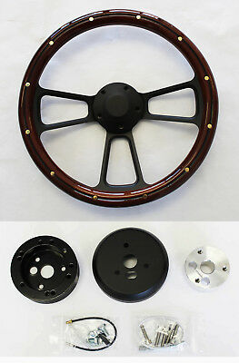 1961-1964 Ford F Series Pick Up Truck Oak /& Black Billet Steering Wheel Adapter