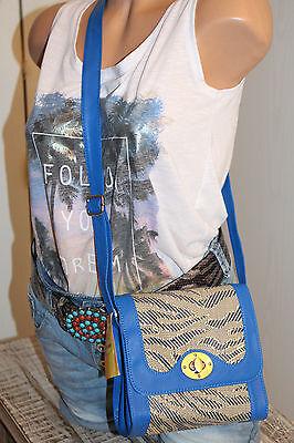 nT015t- NEU royal blau Stoff faux Leder Schulter Tasche klein königsblau SCHICK