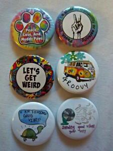 1-5-034-Groovy-Hippy-Set-6-pk-Novelty-Buttons-Pins-For-backpacks-Jackets-amp-More