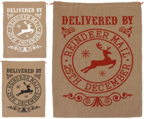 Large Vintage Hessian Christmas Sack Santa Sack Stocking Jute Gift Bag Reindeer Holiday Seasonal Décor Stockings Hangers