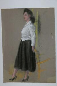 Pastell-Malerei-Frau-mit-Rock