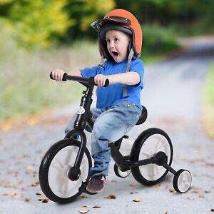 HOMCOM Kids Balance Training Bike Toy w/ Stabilizers For Child 2-5 Years Black