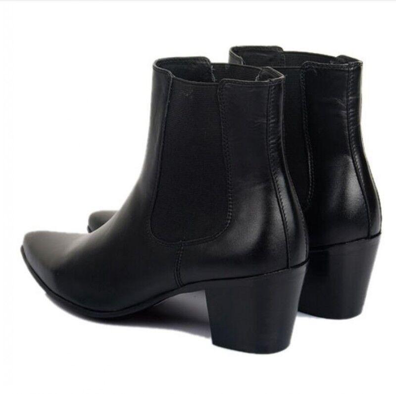 Geunine Leather Men Pointed Toe Block Heel Ankle botas Nightclub Pull On zapatos