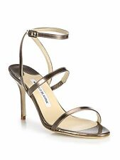 NIB $765 Manolo Blahnik DIDIN Ankle Strap Sandal Heels Bronze Patent Leather 37