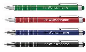 4-Touchpen-Kugelschreiber-mit-Gravur-aus-Metall-je-1x-gruen-blau-schwarz-rot