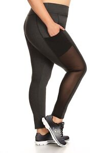 6a91b19547b8bb Image is loading Womens-Plus-Size-Activewear-Solid-Leggings-With-Mesh-