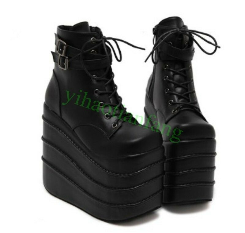 Hot Women High Wedge Heel Platform Strappy Gothic Ankle Boot Show Punk Shoes New