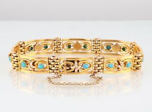 Antique-Victorian-9Ct-Gold-And-Turquoise-Gate-Bracelet-c-1890-s