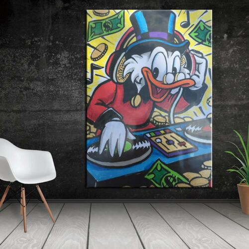 """Alec monopoly Handcraft Oil Painting on Canvas,/""""Uncle Scrooge Dj/"""" 24×36/"""""""