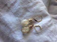 14kt Gold Lever Back Earrings w/ Big Floating Opal Globes  14kt Filigree Caps !
