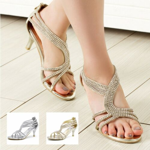 SheSole Womens Sandals Heels Shoes Crystal Silver Wedding Dresses Size 6-11