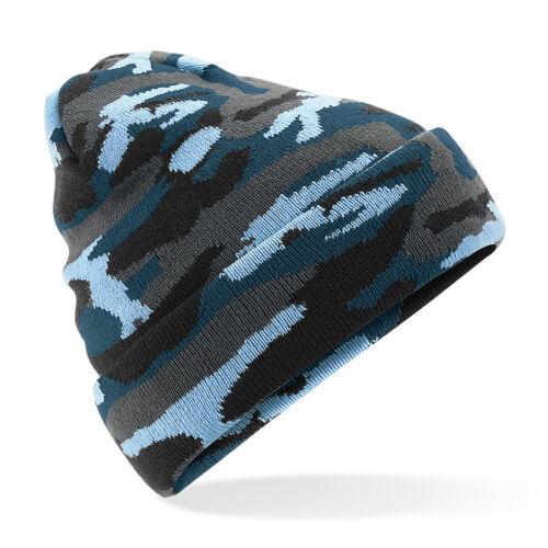Beechfield Camouflage À Revers Bonnet-Soft Touch Double Tricot-Unisexe B419
