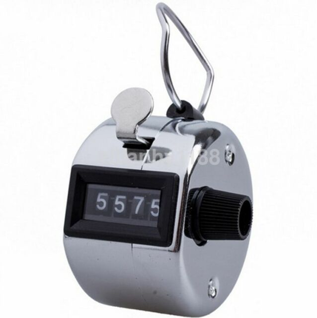 Steel Tally Counter Hand Held Clicker 4 Digit Chrome Palm Golf People Counting