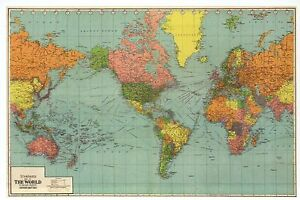 Map Of Modern Asia.Details About Panoramic Map Of The World United States Europe Asia Etc Modern Postcard