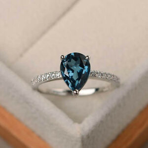 1-70-Ct-Pear-Cut-Real-Sapphire-Diamond-Engagement-Ring-14K-White-Gold-Size-6-7-8