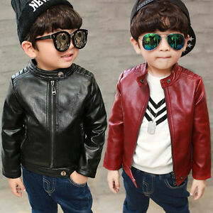 4 13 Olds Child Leather Slim Fit Zip Coat Kids Boys Rock Punk