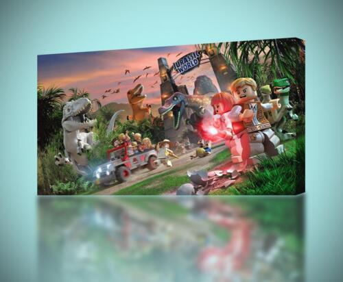 Jurassic World Lego CANVAS PRINT Wall Art Decor Giclee *4 Sizes* CA141